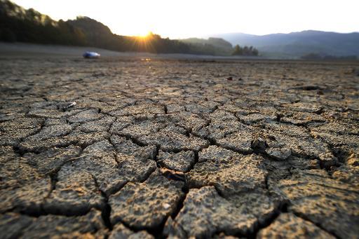De la boue craquelée sur les rives asséchées du lac de la Gruyère, près du village suisse d'Avry-devant-Pont, le 20 avril 2011 © AFP/Archives Fabrice Coffrini