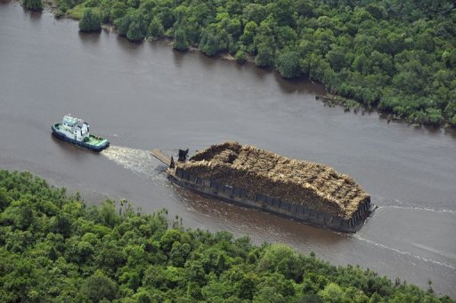 A tugboat pulls a barge loaded with logs on Sumatran river on October 16, 2010 © AFP/File Romeo Gacad