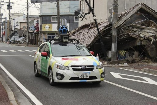 This undated handout photograph taken in March, 2013 by Google Street View and received on March 28, 2013 shows a Google car mounted with a street view camera driving through a street in Namie Town, Fukushima Prefecture. Google began offering the chance for people to wander virtually through an abandoned town deep within the exclusion zone around Japan's crippled nuclear plant. © Google/AFP