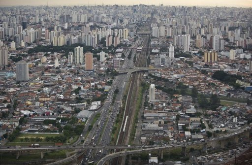 Aerial view of Radial Leste Avenue in Sao Paulo, Brazil, on April 4, 2013 © AFP/File Nelson Almeida