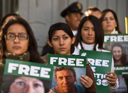 Manifestation de soutien aux militants de Greenpeace emprisonnés en Russie, le 27 septembre 2013 à Mexico © AFP/Archives Ronaldo Schemidt