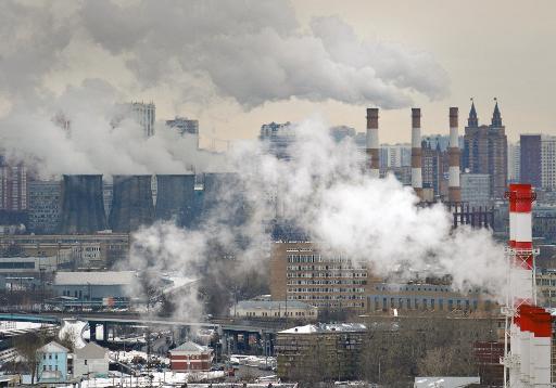 Vue aérienne de Moscou avec une centrale à charbon en arrière-plan © AFP/Archives Alexander Nemenov