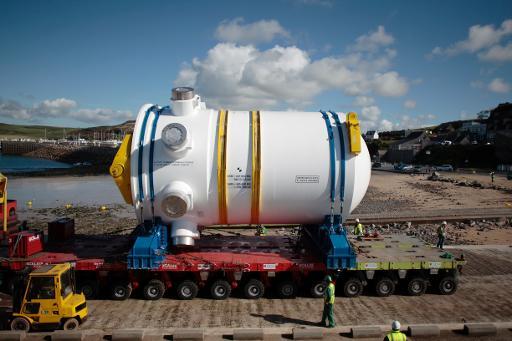 La cuve de l'EPR, le réacteur nucléaire de forte puissance en construction à Flamanville (Manche), est arrivée lundi sur le site, a indiqué EDF maître d'oeuvre du chantier. © AFP Charly Triballeau