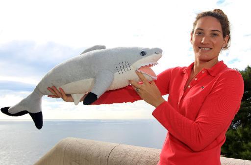 Stella, un requin femelle de près de 17 kg provenant d'un aquarium du Calvados fermé depuis cet été, a été accueillie lundi au Musée océanographique de Monaco par sa marraine, la nageuse Camille Muffat, a constaté un photographe de l'AFP. © AFP Jean-Christophe Magnenet