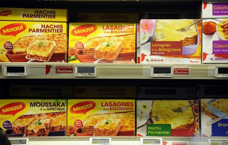 Bordeaux, France: des lasagnes surgelées sont photographiées ici dans un supermarché de Bordeaux en février 2013. © AFP PHOTO JEAN-PIERRE MULLER
