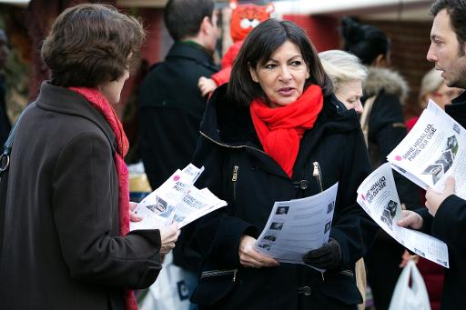 La candidate PS à la mairie de Paris Anne Hidalgo dans le Ve arrondissment, le 11 janvier 2014 © AFP Joël Saget