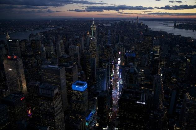 Midtown et l'Empire State Building de nuit, Manhattan, New York, Etats Unis (40°45' N - 73°59' O).