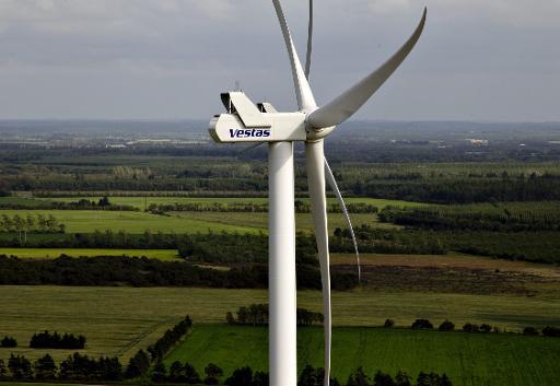 A photo taken on June 29, 2012 shows a Vestas wind turbine near Baekmarksbro in Jutland © Scanpix/AFP Morten Stricker