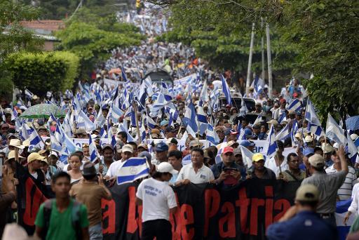 Des opposants au canal interocéanique du Nicaragua ont défilé, le 13 juin 2015 à Juigalpa, pour la 47e fois depuis le lancement du chantier en décembre dernier © AFP STR