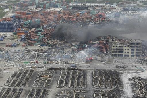 Site de l'explosion dans la cité portuaire de Tianjin (est de la Chine) le 13 août 2015 © AFP STR