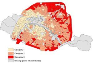 Carte de Pairs extraite de de l'étude. Catégory 1 désigne les quartiers les plus favorisés, category 2 les quartiers intermédiares et category 3 les zones les plus défavorisées.