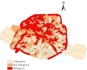Carte extraite de l'étude montrant les concentrations de pollution au dioxyde d'azote NO2 à Paris.