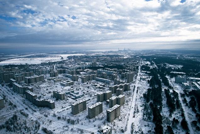 Pripiat, ville abandonnée près de la centrale nucléaire de Tchernobyl, Ukraine (51°24' N - 30°02' E).