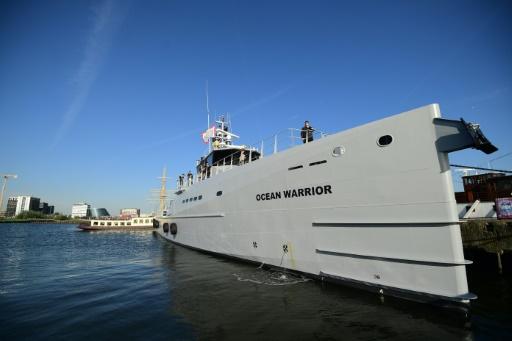 Le Ocean Warrior, le nouveau bâtiment de Shepherd global, à quai à Amsterdam, le 27 septembre 2016 © AFP/Archives EMMANUEL DUNAND