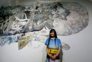 artiste japonaise Océans en péril: une fresque avec des baleines Maki Ohkojima Paris