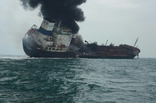petrolier hong kong incendie feu