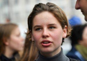 La jeune militante belge pour le climat Anuna De Wever lors d'une marche à Bruxelles le 17 mai 2019 © AFP/Archives EMMANUEL DUNAND