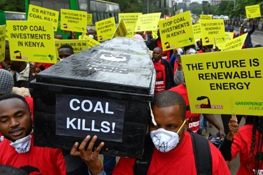 Des militants écologistes manifestent à Nairobi contre un projet de construction d'une centrale à charbon près de l'archipel de Lamu, le 12 juin 2019 © AFP SIMON MAINA