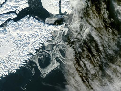 La côte est du Groeland vue par un satellite de la Nasa, le 16 octobre 2012 © NASA/AFP JEFF SCHMALTZ
