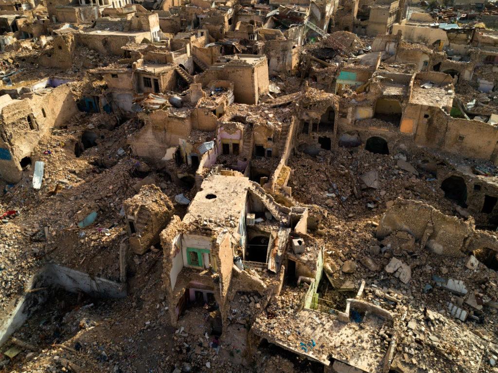 """La ville bombardée de Mossoul (26 mai 2018), Irak (36°20'47"""" N 43°8'1"""" E)"""
