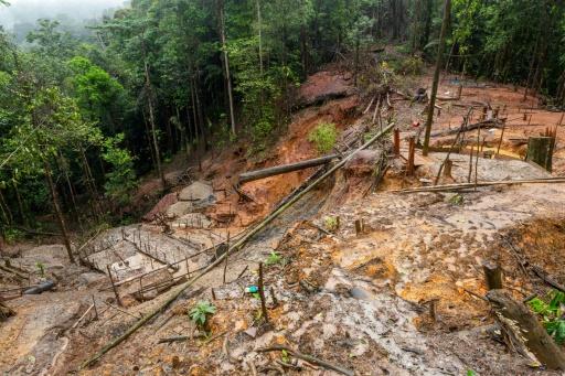 Un site illégal d'orpaillage, le 10 juin 2019 en Guyane française © AFP/Archives jody amiet