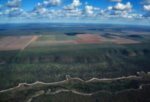 Vue aérienne, le 29 mai 2019, de la savane du Cerrado entourant des champs agricoles à Formosa do Rio Preto, à l'ouest de l'Etat de Bahia. © AFP NELSON ALMEIDA