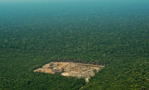 Vue aérienne d'une zone déboisée dans la forêt amazonienne, le 22 septembre 2017 © AFP/Archives CARL DE SOUZA