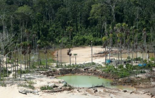 Déforestation dans l'Amazonie péruvienne, liée aux mines illégales d'or, en mars 2019 © POOL/AFP/Archives GUADALUPE PARDO