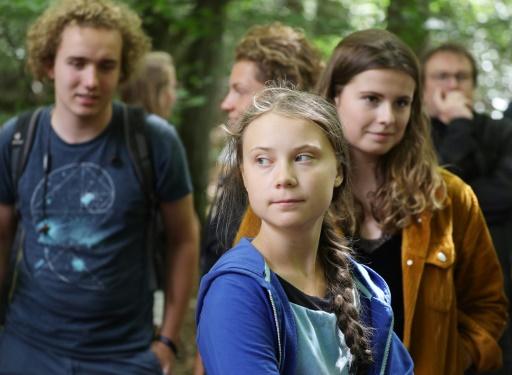 La militante de l'environnement Greta Thunberg dans la forêt de Hambach, dans l'ouest de l'Allemagne, le 10 août 2019, où elle a demandé la fin de la production et de l'exploitation du charbon. © dpa/AFP Oliver Berg