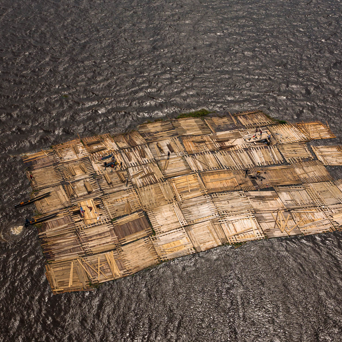 Flottage du bois sur le fleuve Congo, département de Brazzaville, République du Congo. (3°49' S – 15°56' E)