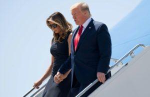 Donald Trump et la Première Dame Melania Trump arrivent à El Paso, au Texas, le 7 août 2019 © AFP SAUL LOEB