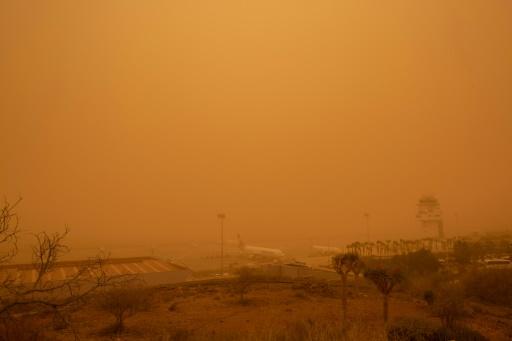 tempête de sable sur les îles Canaries