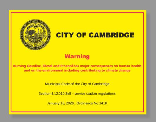cambridge autocollant avertissement climat